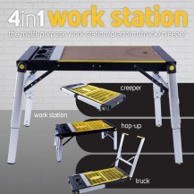 BUILDCRAFT 4 IN 1 MULTIFUNCTION WORKBENCH / SCAFFOLD / HAND TRUCK / CAR CREEPER