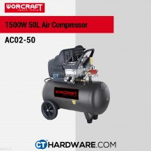 Worcraft AC0250 Air Compressor 2.0Hp 1500W 2850Rpm 8Bar(116Psi)206L/Min 50L Tank