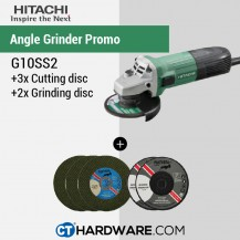 Hitachi G10SS2 Disc Grinders With Slide Switches Free: 3Pcs Cutting Disc + 2 Pcs Grinding Disc