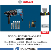Bosch GBH 2-24 DRE Professional Rotary Hammer with SDS Plus ADAPTOR FOC 300PCS DRILL BIT+BOSCH CAR SUNSHADE+ BOSCH CHUCK