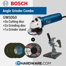 "BOSCH GWS060 4"" PROFESSIONAL ANGLE GRINDER Free: 3Pcs Cutting Disc + 2 Pcs Grinding Disc + Angle Grinder Stand"