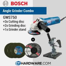 "BOSCH GWS750 4"" PROFESSIONAL ANGLE GRINDER 4""  Free: 3Pcs Cutting Disc + 2 Pcs Grinding Disc + Angle Grinder Stand"