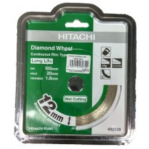 Hitachi 105mm x 12mm Continuous Rim Wet Cutting Diamond Disc (402326)