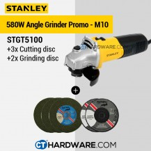 Stanley STGT5100 Toggle Switch Small Angle Grinder 100mm 580W FOC 3PCS CUTTING DISC + 2PCS GRINDING DISC